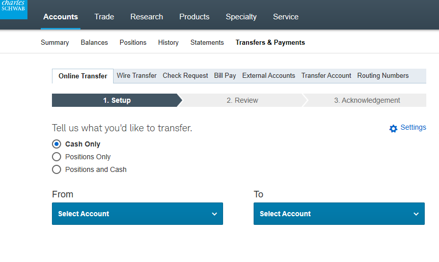 Transferring Cash To/From Your Schwab Account(s) And Your